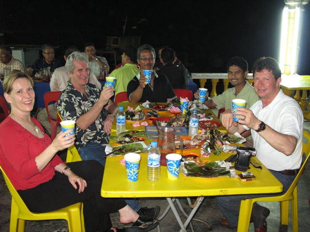 Sumptuous traditionally prepared seafood BBQ down in Malacca